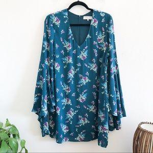 WAYF teal floral bell sleeve boho tunic dress L